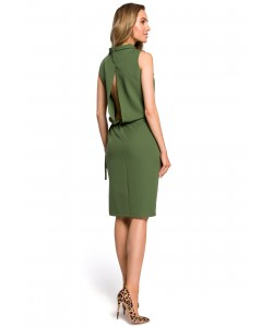Sukienka damska wizytowa z rozcięciem na plecach zielona