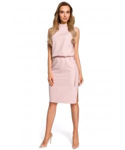 Sukienka damska w kolorze różowym z rozcięciem na plecach
