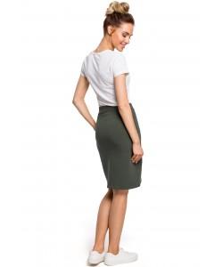 Spódnica damska khaki w stylu sportowym dresowa