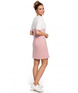 Sukienka damska ołówkowa z dzianiny różowa