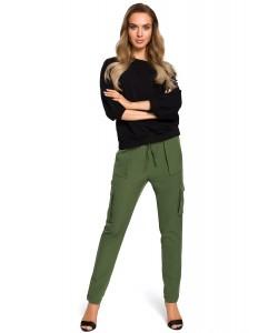 Spodnie damskie z kieszeniami bojówki zielone