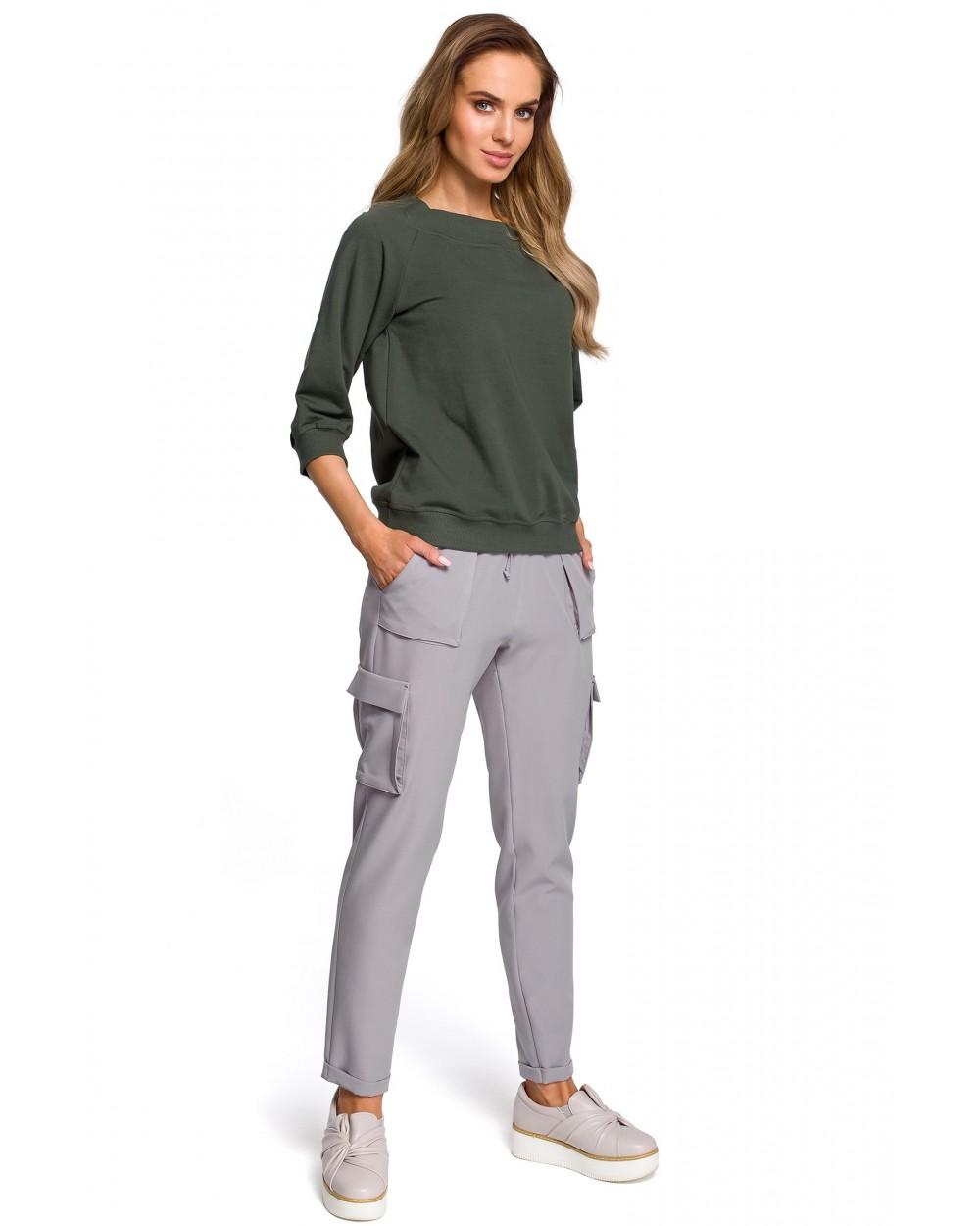 Spodnie damskie bojówki na co dzień szare luźne sklep online