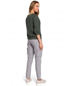 Spodnie damskie bojówki na co dzień szare luźne