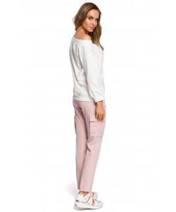 Spodnie damskie w kolorze różowym z kieszeniami bojówki