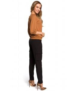 Spodnie damskie w kolorze czarnym bojówki na co dzień