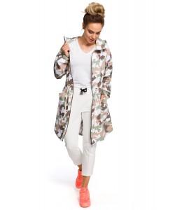 Bluza damska długa oversize wzór moro z kapturem