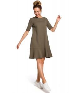 Sukienka damska khaki trapezowa z falbaną na co dzień