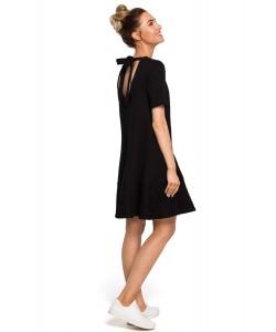 Sukienka damska czarna trapezowa z falbaną na co dzień