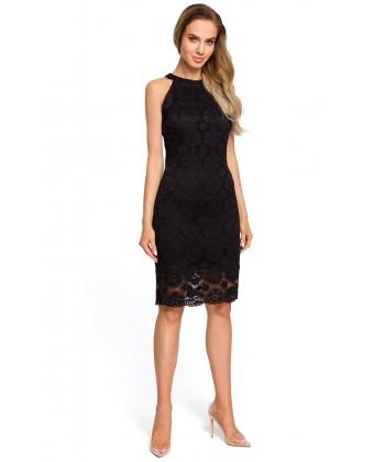 Dopasowana sukienka z koronki czarna