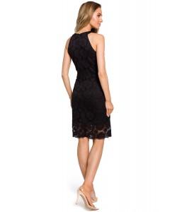 Sukienka damska z czarnej koronki dopasowana ołówkowa