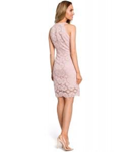 Sukienka damska koronkowa w kolorze różowym ołówkowa