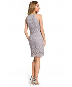 Sukienka damska z koronki szara dopasowana z dekoltem halter
