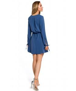 Zwiewna sukienka mini ze ściągaczem - niebieska