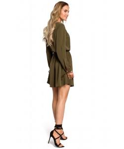 Zwiewna sukienka mini ze ściągaczem - khaki