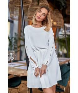 Zwiewna sukienka mini ze ściągaczem - ecru