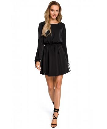 Zwiewna sukienka mini ze ściągaczem - czarny