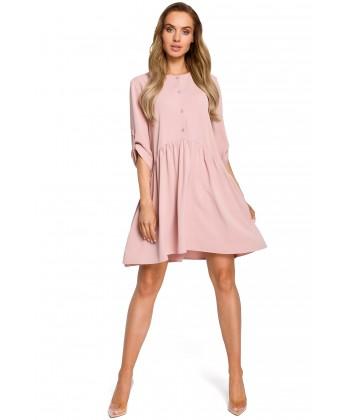 Sukienka oversize z marszczeniami - różowa
