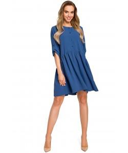 Sukienka oversize z marszczeniami - niebieska