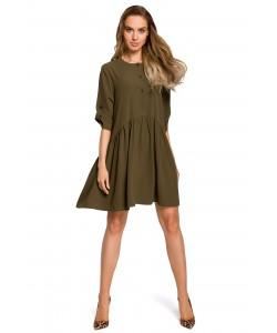 Sukienka oversize z marszczeniami - khaki