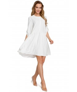 Sukienka oversize z marszczeniami - ecru