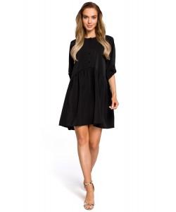 Sukienka oversize z marszczeniami - czarna