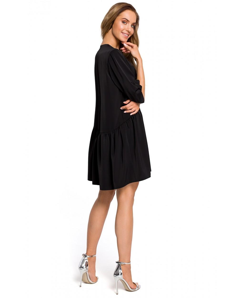 Czarna sukienka z marszczeniem w talii oversize Sklep