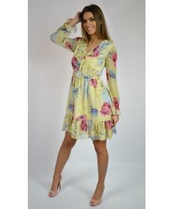 Bananowa sukienka w kwiaty - Tamara
