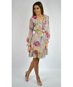 Sukienka w kwiaty - Tamara pudrowy róż