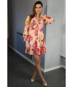 Pomarańczowa sukienka w kwiaty - Tamara
