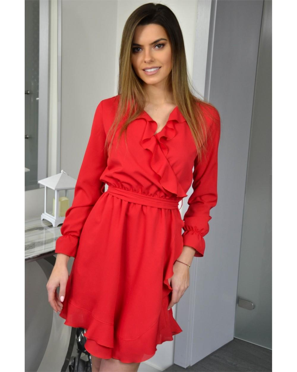 b5651e167c Kopertowa sukienka Izolda - czerwona