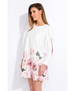 Kremowa sukienka w róże - Lila