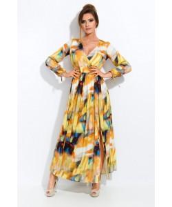 Żółta sukienka we wzory - Klaudia II