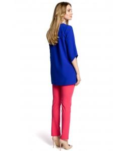Luźna bluzka damska - chabrowa