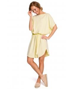Bawełniana sukienka oversize - żółta