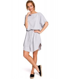 Bawełniana sukienka oversize - szara