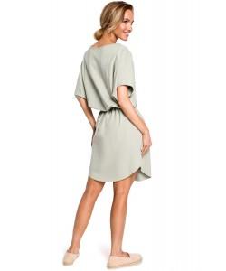 Bawełniana sukienka oversize - pistacjowa