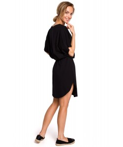 Bawełniana sukienka oversize - czarna