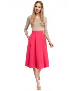Rozkloszowana spódnica z zakładkami - różowa