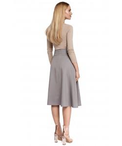 Rozkloszowana spódnica z zakładkami - szara