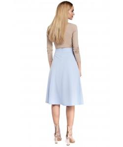 Rozkloszowana spódnica z zakładkami - błękitna
