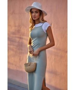 Bawełniana sukienka maxi - pistacjowa
