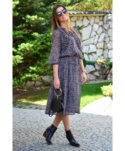 Długa sukienka w panterkę z szyfonu Marina szara