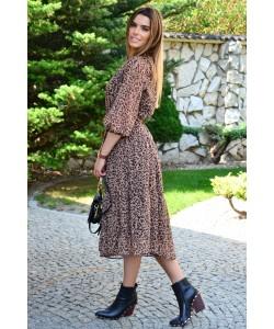 Długa sukienka z szyfonu Marina brązowa