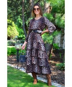 Długa sukienka z falbanami Ramona ruda