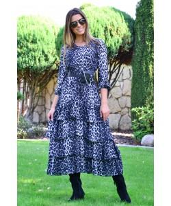 Długa sukienka z falbanami Ramona czarna