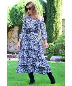 Długa sukienka z falbanami Ramona szara