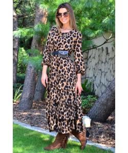 Długa sukienka z falbanami Ramona brąz
