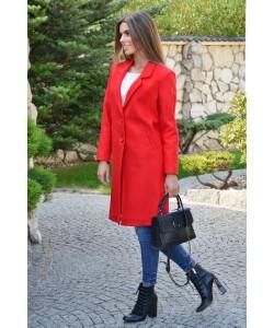 Przejściowy płaszcz na guziki Nadia czerwony