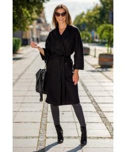 Wiązany płaszcz z klapami Lukrecja czarny