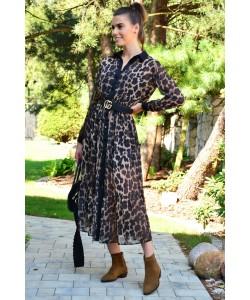Długa sukienka na guziki Lampart centki brąz